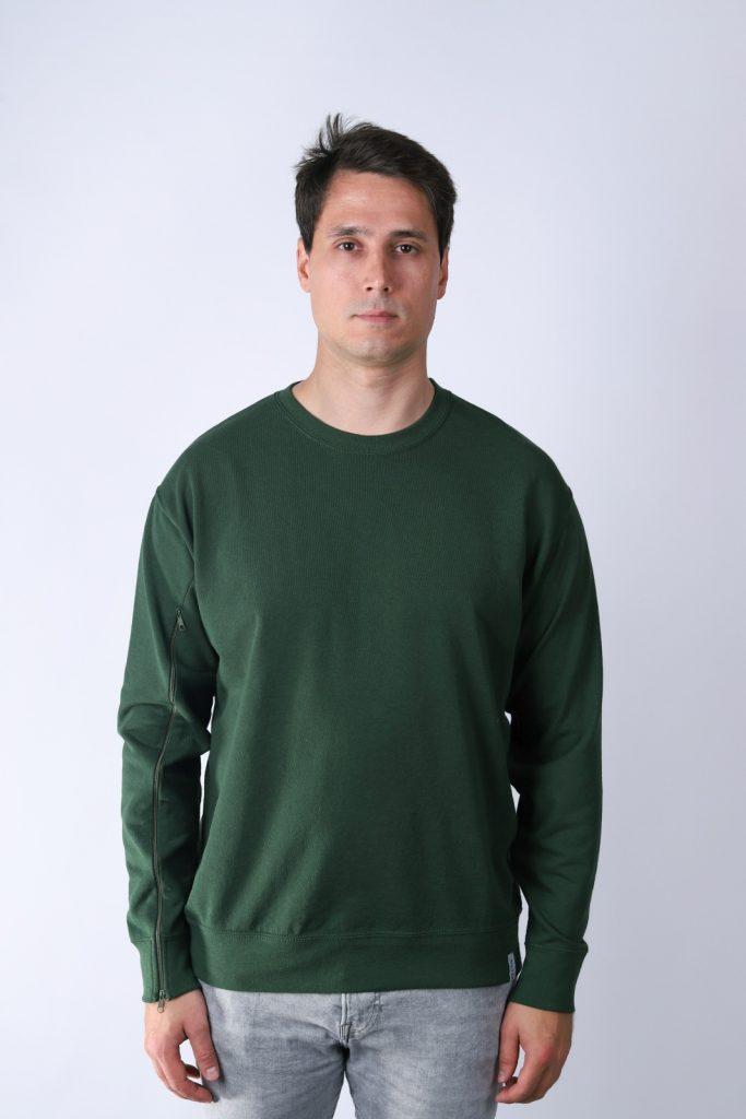 Bluza męska dla osób z przetoką - Ciemna zieleń
