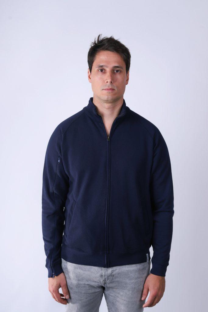 Bluza męska rozpinana dla osób z przetoką - Ciemny granat