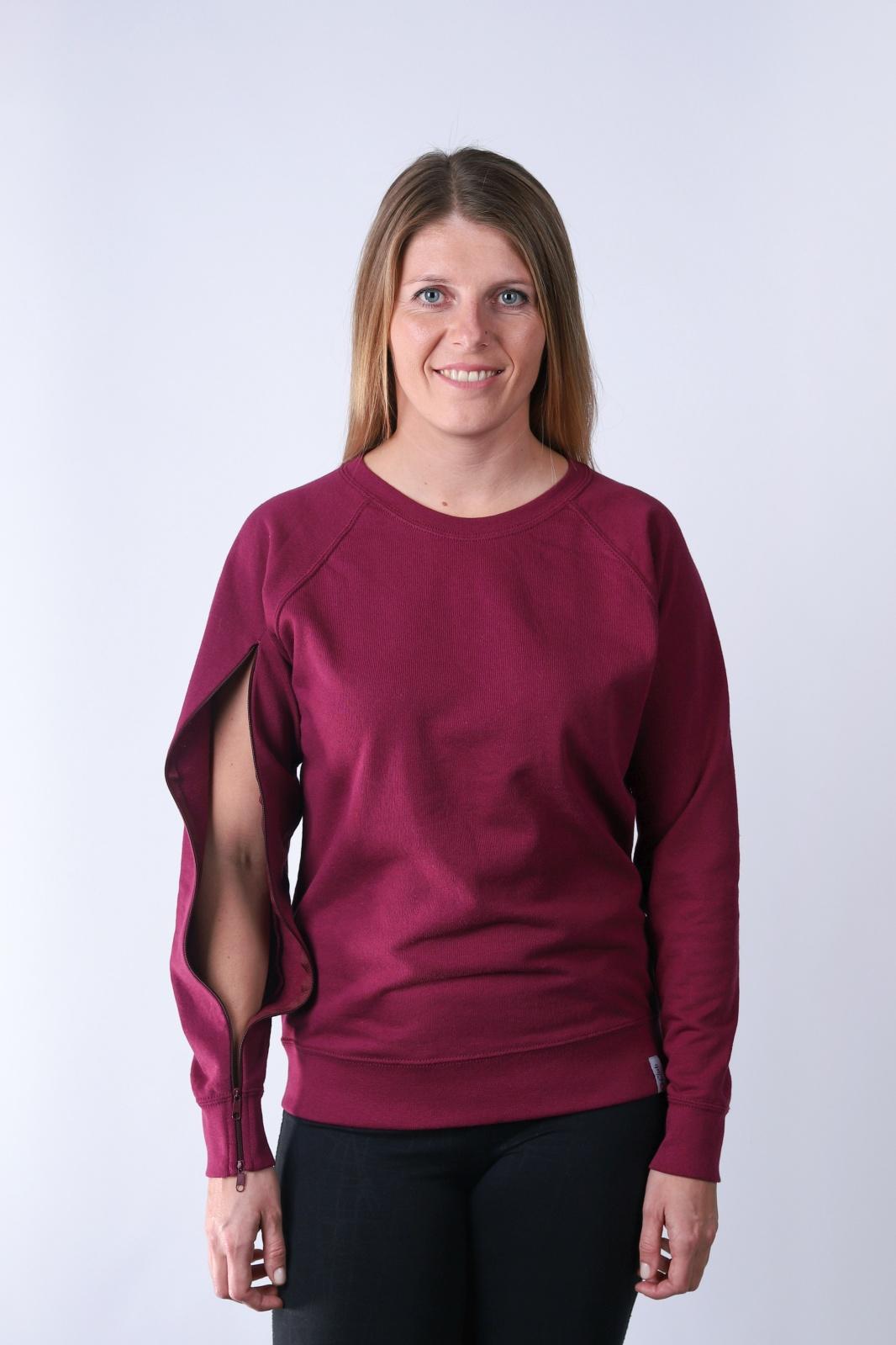 Bluza damska dla osób z przetoką- Burgund